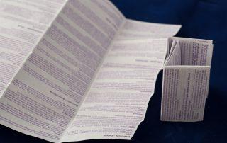 Beipackzettel, 60-Seiten, Format 40 x 70 mm